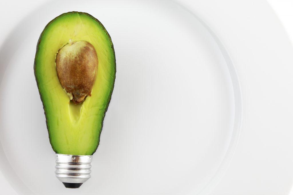 Half an avocado as a light bulb