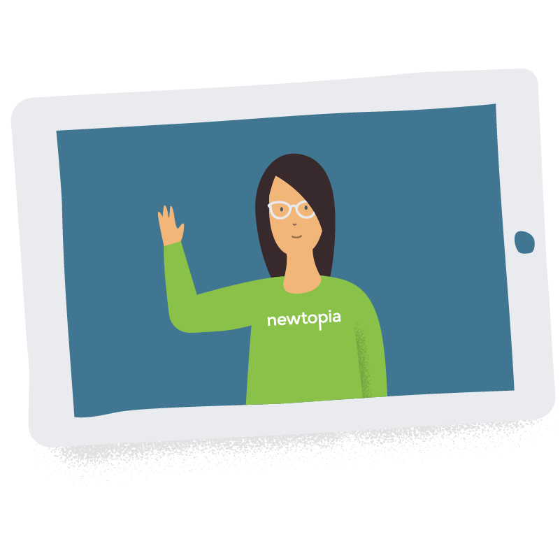 Newtopia Inspirator waving hello on tablet