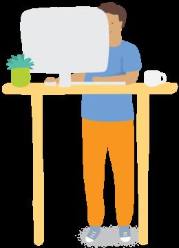Newtopia employee at desk