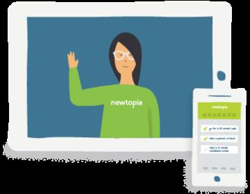 Newtopia inspirator waving from tablet screen