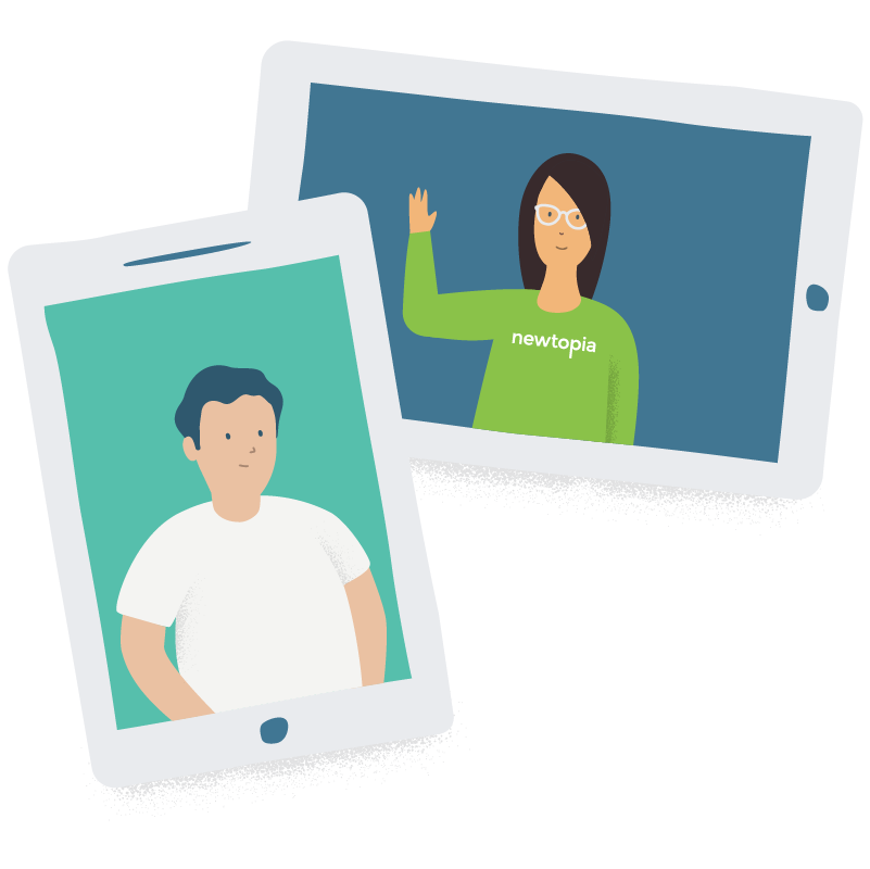Inspirator waving in tablet and Participant in another tablet